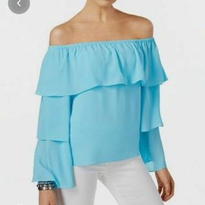 INC Ruffled sleeve off shoulder layered teal blouse size Large
